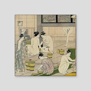 "Kiyonaga bathhouse women SC Square Sticker 3"" x 3"""