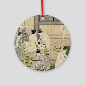 Kiyonaga bathhouse women SC Round Ornament