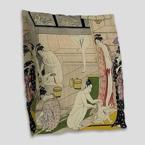 Kiyonaga bathhouse women SC2 Burlap Throw Pillow