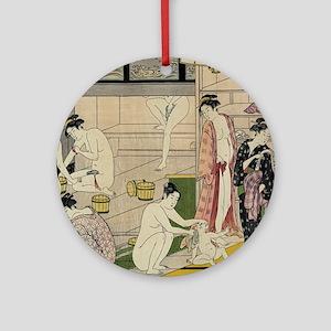 Kiyonaga bathhouse women SC2 Round Ornament