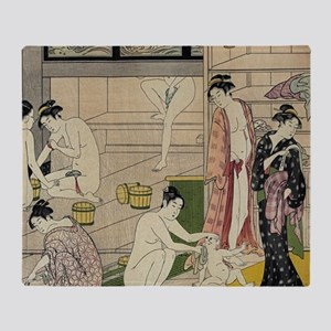 Kiyonaga bathhouse women SC2 Throw Blanket
