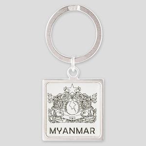 VintageMyanmar2 Square Keychain