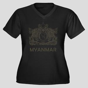 VintageMyanm Women's Plus Size Dark V-Neck T-Shirt