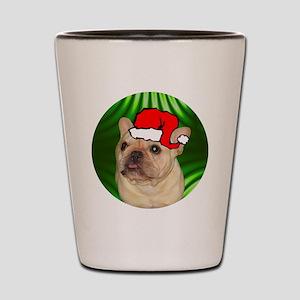 frenchbulldogtanxmas-round Shot Glass