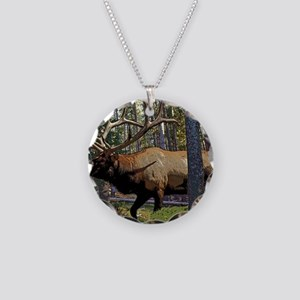 Bull elk in pines Necklace Circle Charm