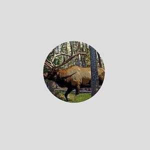 Bull elk in pines Mini Button