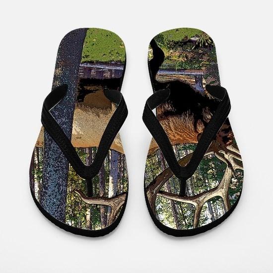 Bull elk in pines Flip Flops