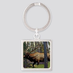 Bull elk in pines Square Keychain