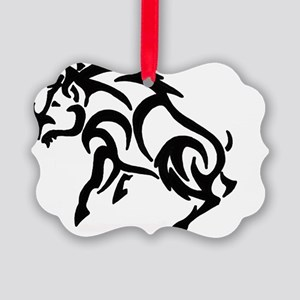 Boar filled in solid Picture Ornament