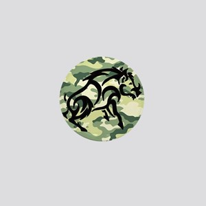 woodland Camo blk boar Mini Button