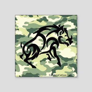 "woodland Camo blk boar Square Sticker 3"" x 3"""
