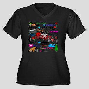 Queen TwiMem Women's Plus Size Dark V-Neck T-Shirt