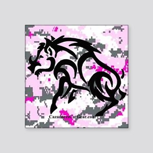 "Boar on Pink Digital Square Sticker 3"" x 3"""