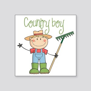 "country boy Square Sticker 3"" x 3"""