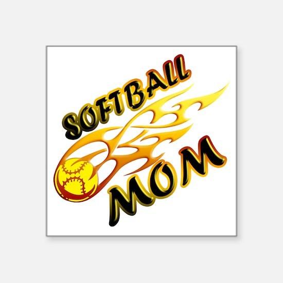 """Softball Mom (flame) copy Square Sticker 3"""" x 3"""""""