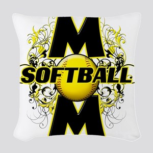 Softball Mom (cross) copy Woven Throw Pillow
