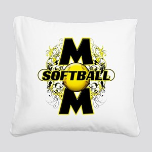 Softball Mom (cross) copy Square Canvas Pillow