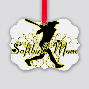 Softball Mom (silhouette) copy Picture Ornament