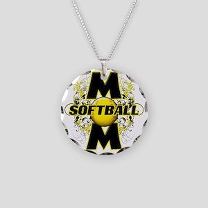 Softball Mom (cross) copy Necklace Circle Charm