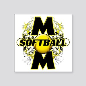 "Softball Mom (cross) copy Square Sticker 3"" x 3"""