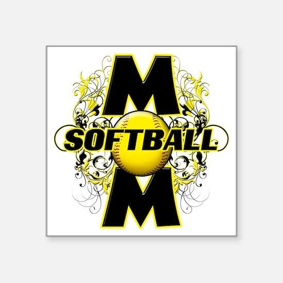 """Softball Mom (cross) copy Square Sticker 3"""" x 3"""""""