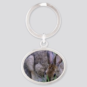 Bunny Rabbit Oval Keychain