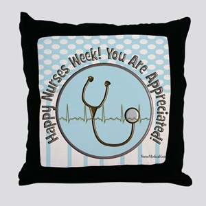 CP happy nurses week chocolate blue Throw Pillow