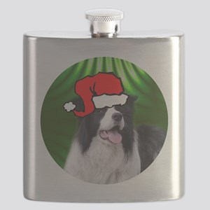 bordercolliexmas-round Flask