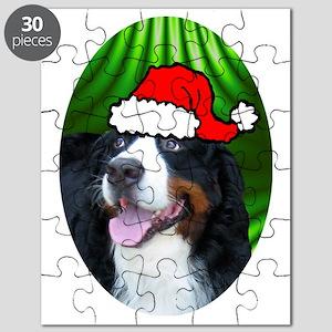 bernesemtndogxmas-oval Puzzle