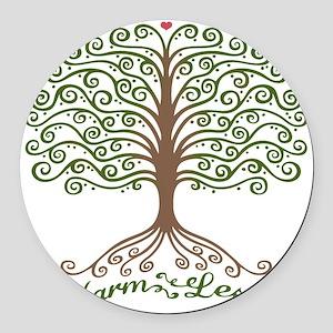 harm-less-tree-T Round Car Magnet