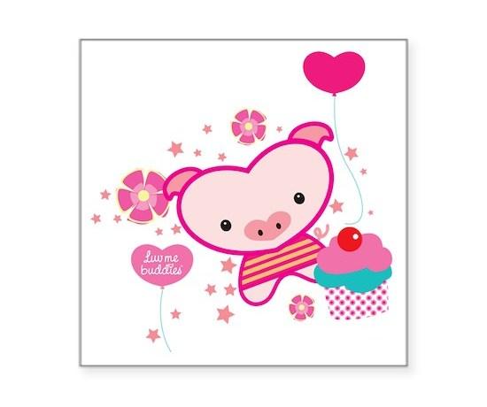 Piquelle pig pink t square sticker 3
