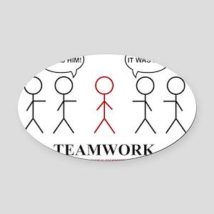 teamwork Oval Car Magnet