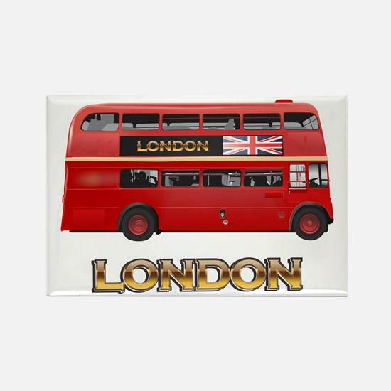 Red Bus-London Rectangle Magnet