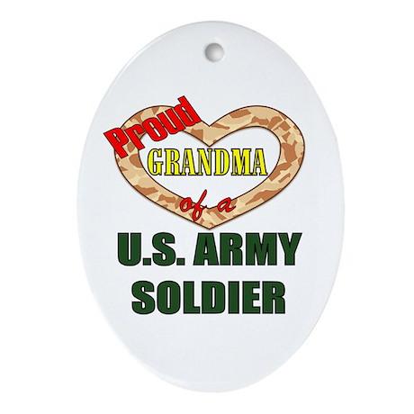 Proud Army Grandma Oval Ornament