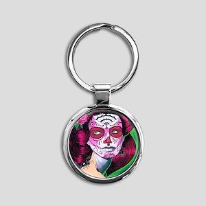 sugar_skull_14 Round Keychain