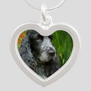 Cocker Spaniel 9W017D-139 Silver Heart Necklace