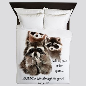 Friends in your Heart Quote Cute Watercolor Raccoo