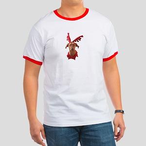Vizsla Christmas Reindeer Ringer T