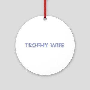 Trophy W Blue Ornament (Round)