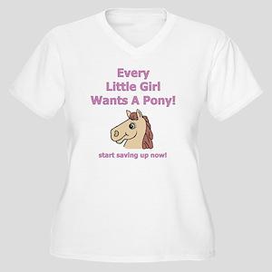 Girl pony onsie Women's Plus Size V-Neck T-Shirt