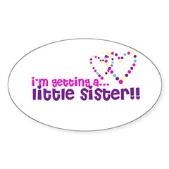 secret little brother or sist Oval Decal
