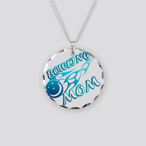 Bowling Mom (flame) copy Necklace Circle Charm