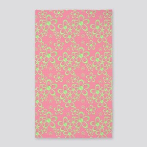 Pink and Green Flowers 3'x5' Area Rug