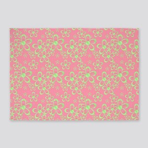 Pink and Green Flowers 5'x7'Area Rug