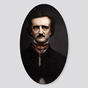 14X10 Edgar Allan Poe Print Sticker (Oval)