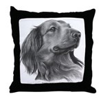 Long-Haired Dachshund Throw Pillow