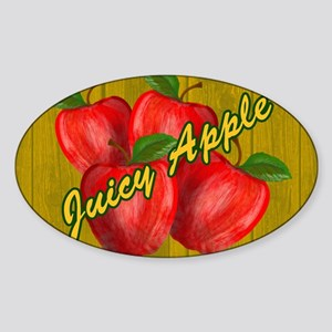 JUICY-APPLE-WOODGRAIN-PILLOW-CASE Sticker (Oval)