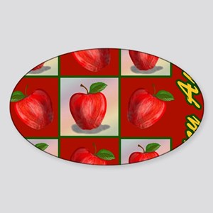 jUICY-aPPLES-PILLOW-CASE Sticker (Oval)