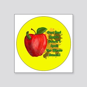 "ONE-BAD-APPLE-3-INCH-BUTTON Square Sticker 3"" x 3"""