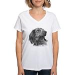 Long-Haired Dachshund Women's V-Neck T-Shirt